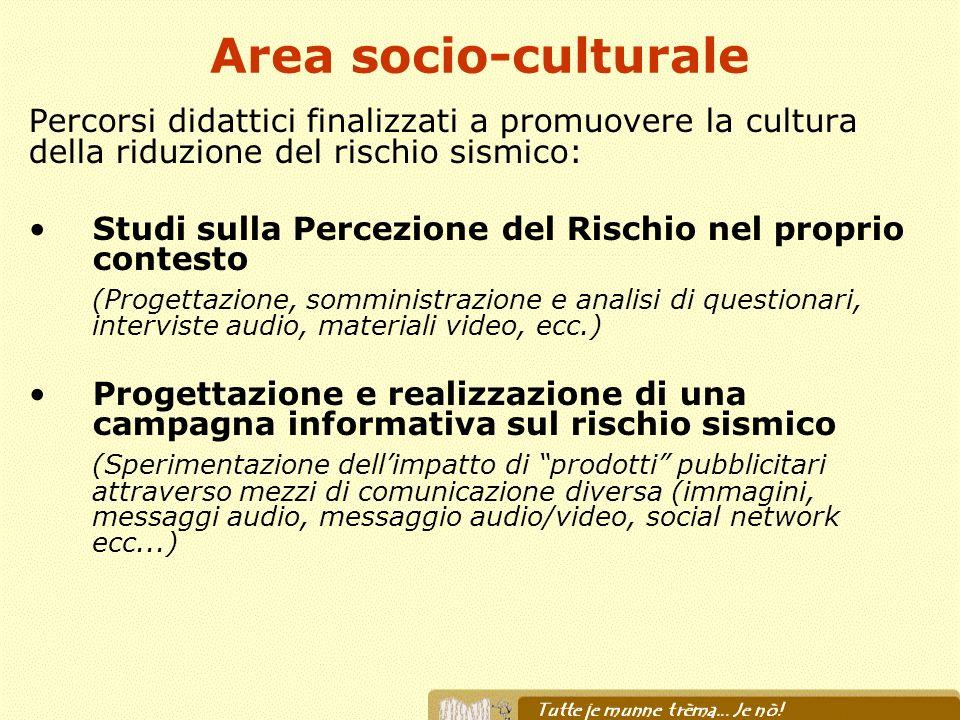 Area socio-culturale Percorsi didattici finalizzati a promuovere la cultura della riduzione del rischio sismico: Studi sulla Percezione del Rischio ne