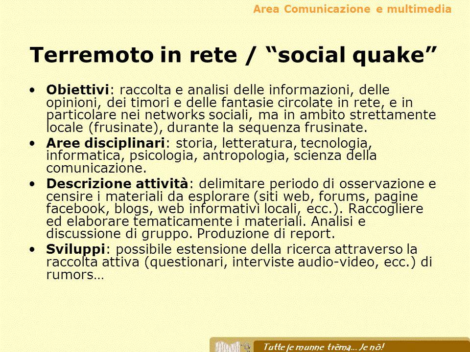 Terremoto in rete / social quake Obiettivi: raccolta e analisi delle informazioni, delle opinioni, dei timori e delle fantasie circolate in rete, e in