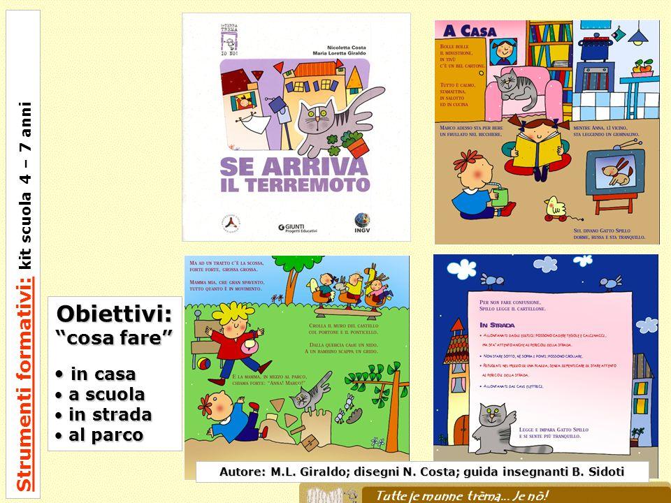 Strumenti formativi: kit scuola 4 – 7 anni Autore: M.L. Giraldo; disegni N. Costa; guida insegnanti B. Sidoti Obiettivi: cosa fare in casa in casa a s