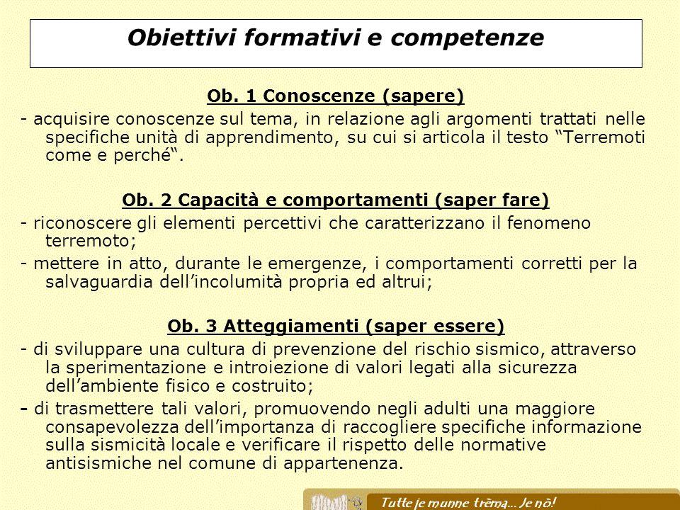 Obiettivi formativi e competenze Ob. 1 Conoscenze (sapere) - acquisire conoscenze sul tema, in relazione agli argomenti trattati nelle specifiche unit
