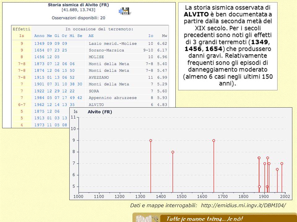 Dati e mappe interrogabili: http://emidius.mi.ingv.it/DBMI04/ La storia sismica osservata di ALVITO è ben documentata a partire dalla seconda metà del