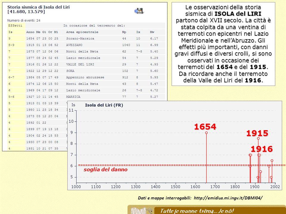 Dati e mappe interrogabili: http://emidius.mi.ingv.it/DBMI04/ 1654 1915 1916 soglia del danno Le osservazioni della storia sismica di ISOLA del LIRI p