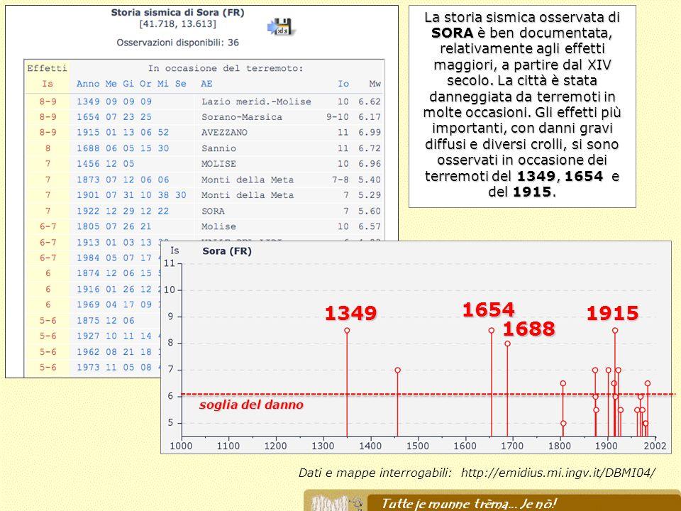 Dati e mappe interrogabili: http://emidius.mi.ingv.it/DBMI04/ La storia sismica osservata di SORA è ben documentata, relativamente agli effetti maggio