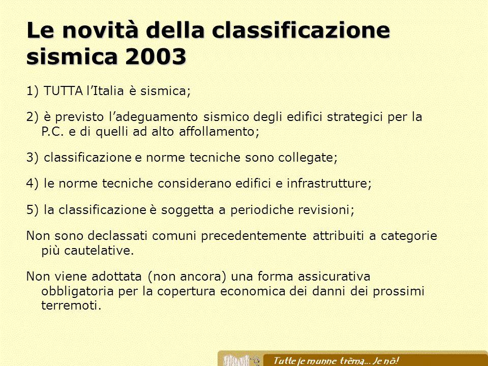 Le novità della classificazione sismica 2003 1) TUTTA lItalia è sismica; 2) è previsto ladeguamento sismico degli edifici strategici per la P.C. e di