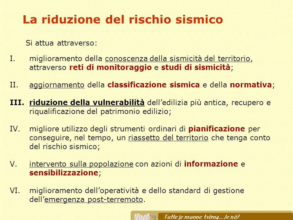 La riduzione del rischio sismico I.miglioramento della conoscenza della sismicità del territorio, attraverso reti di monitoraggio e studi di sismicità