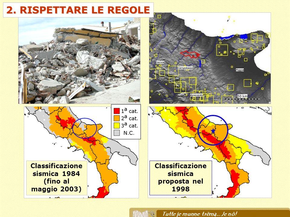 2. RISPETTARE LE REGOLE Classificazione sismica proposta nel 1998 Classificazione sismica 1984 (fino al maggio 2003)