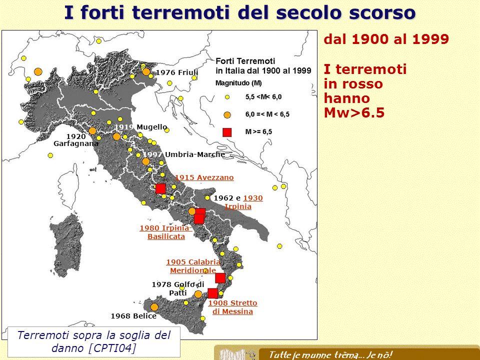 I forti terremoti del secolo scorso dal 1900 al 1999 I terremoti in rosso hanno Mw>6.5 1908 Stretto di Messina 1905 Calabria Meridionale 1980 Irpinia-