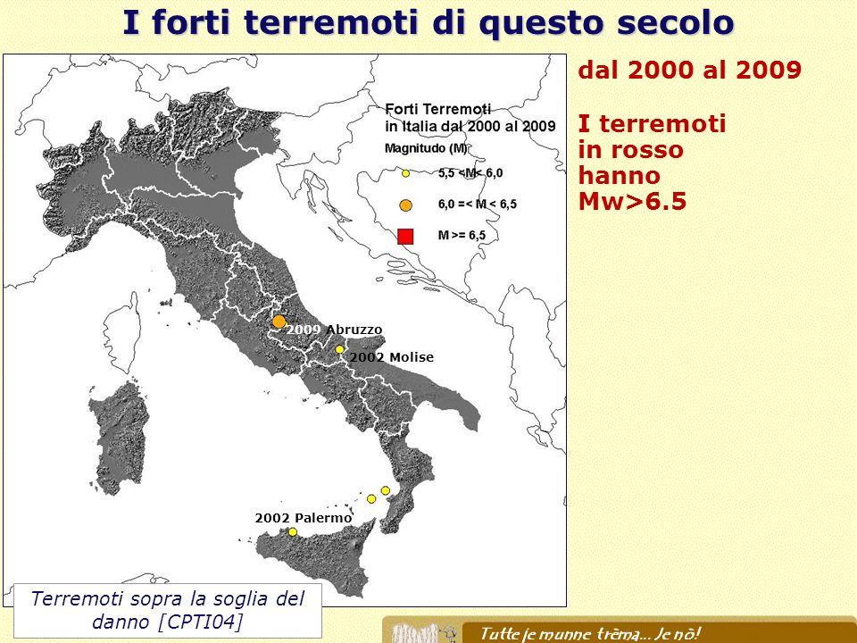dal 2000 al 2009 I terremoti in rosso hanno Mw>6.5 I forti terremoti di questo secolo 2002 Molise 2009 Abruzzo 2002 Palermo Terremoti sopra la soglia