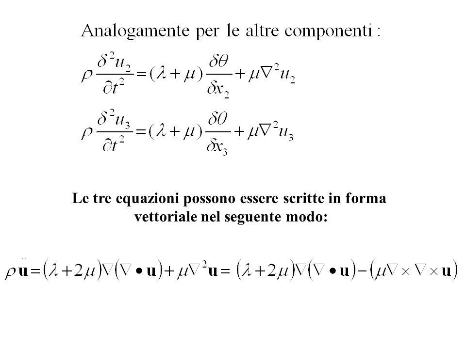 Le tre equazioni possono essere scritte in forma vettoriale nel seguente modo: