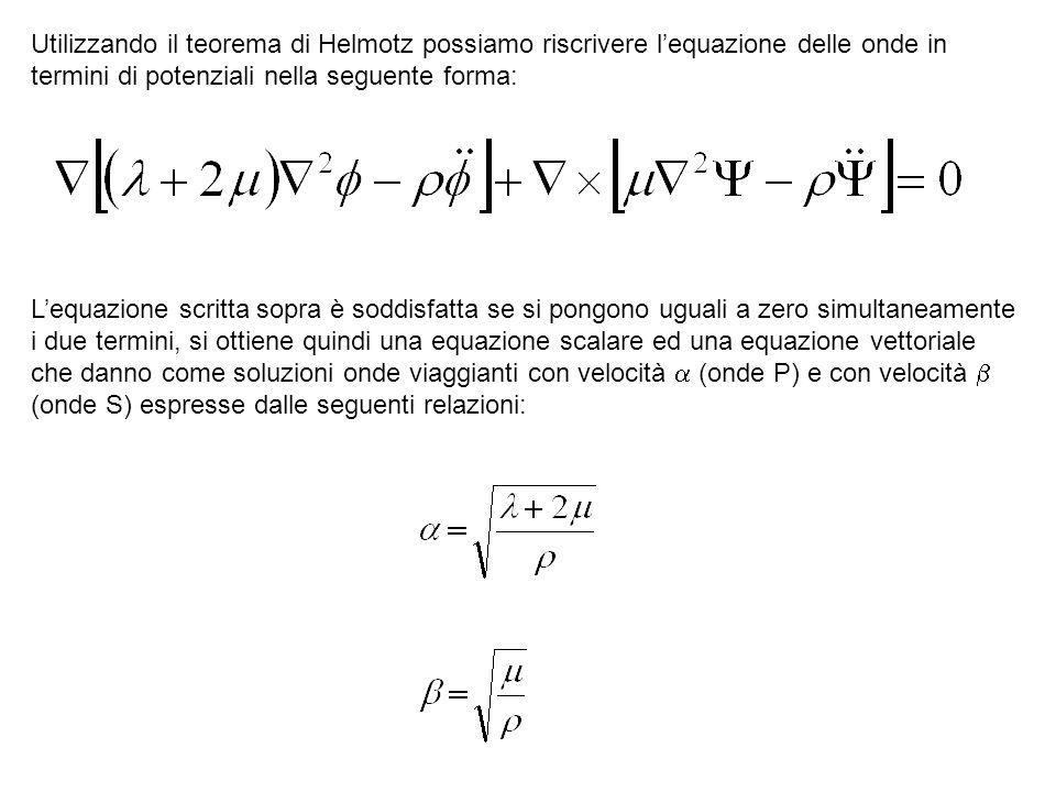 Utilizzando il teorema di Helmotz possiamo riscrivere lequazione delle onde in termini di potenziali nella seguente forma: Lequazione scritta sopra è