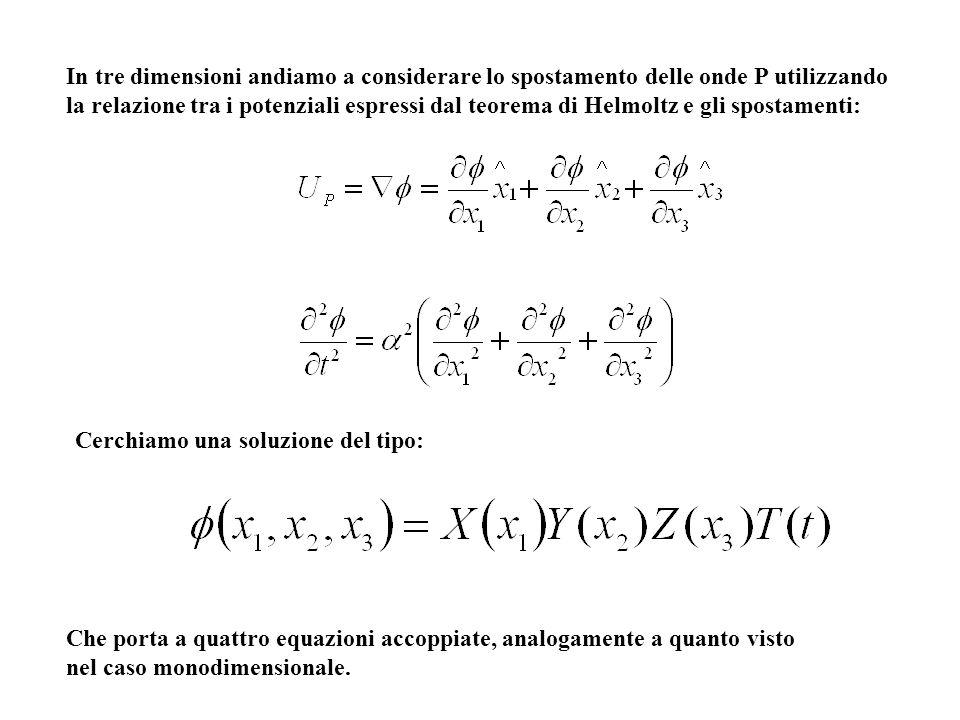 In tre dimensioni andiamo a considerare lo spostamento delle onde P utilizzando la relazione tra i potenziali espressi dal teorema di Helmoltz e gli s