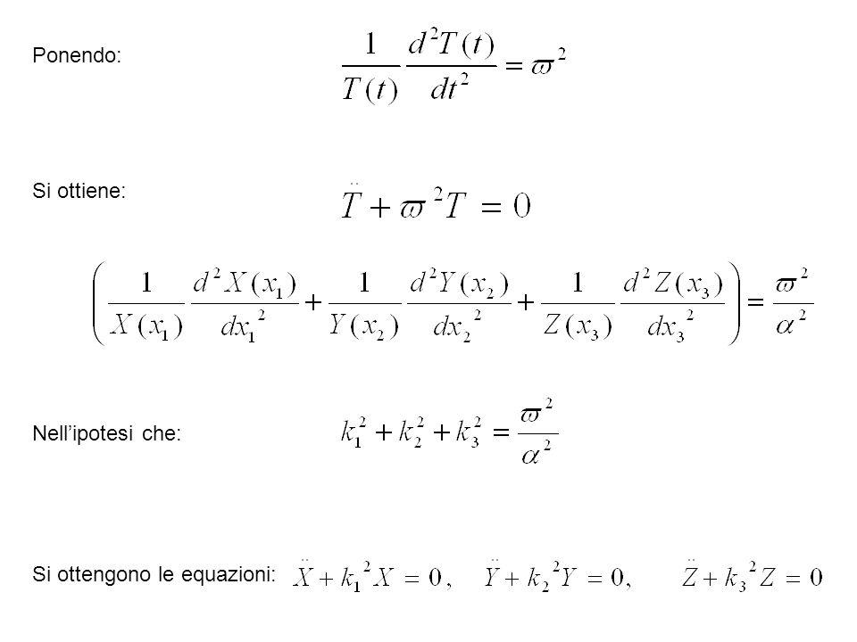 Ponendo: Si ottiene: Nellipotesi che: Si ottengono le equazioni: