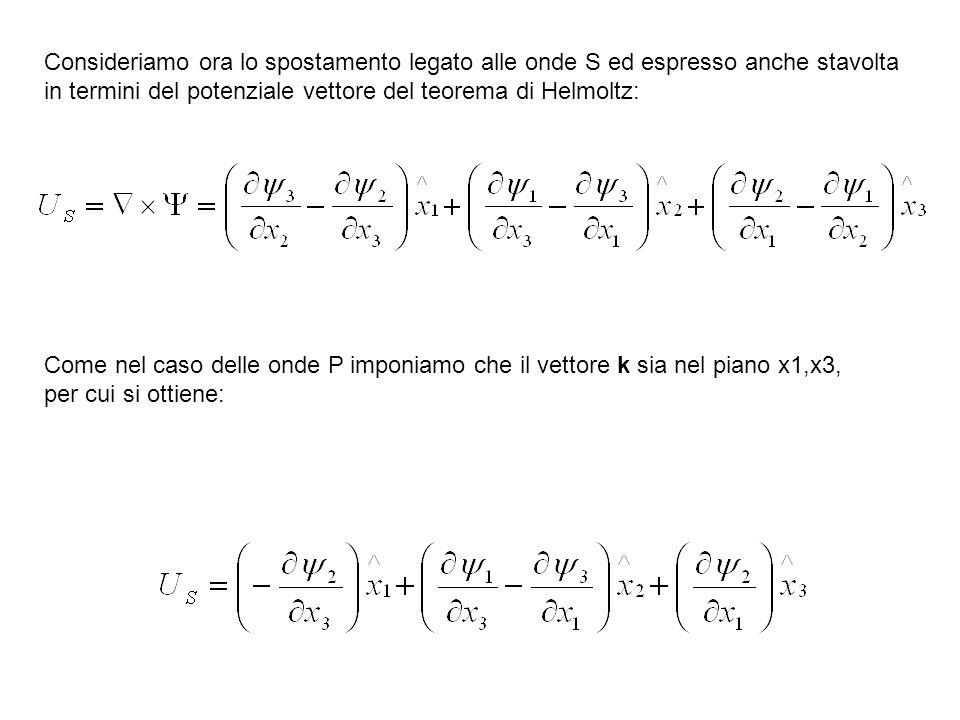 Consideriamo ora lo spostamento legato alle onde S ed espresso anche stavolta in termini del potenziale vettore del teorema di Helmoltz: Come nel caso
