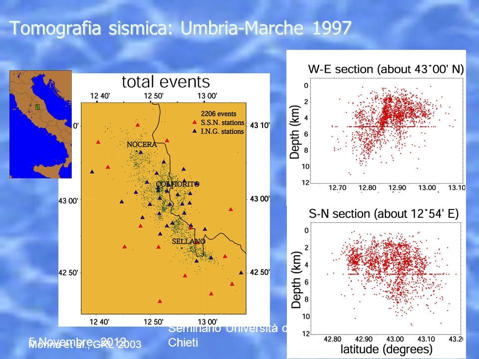 5 Novembre, 2012 Seminario Università di Chieti Tomografia sismica: Umbria-Marche 1997 Monna et al., GRL 2003