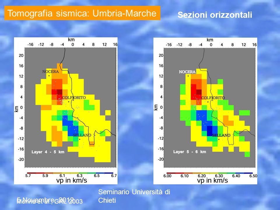5 Novembre, 2012 Seminario Università di Chieti Tomografia sismica: Umbria-Marche Sezioni orizzontali Monna et al., GRL 2003