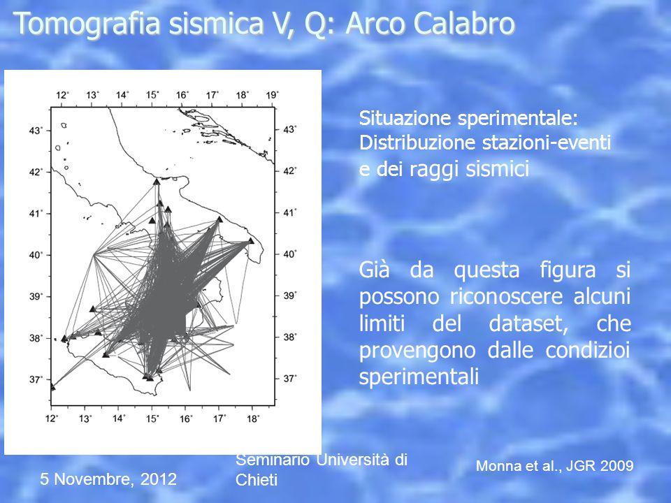 5 Novembre, 2012 Seminario Università di Chieti Situazione sperimentale: Distribuzione stazioni-eventi e dei r aggi sismici Già da questa figura si po