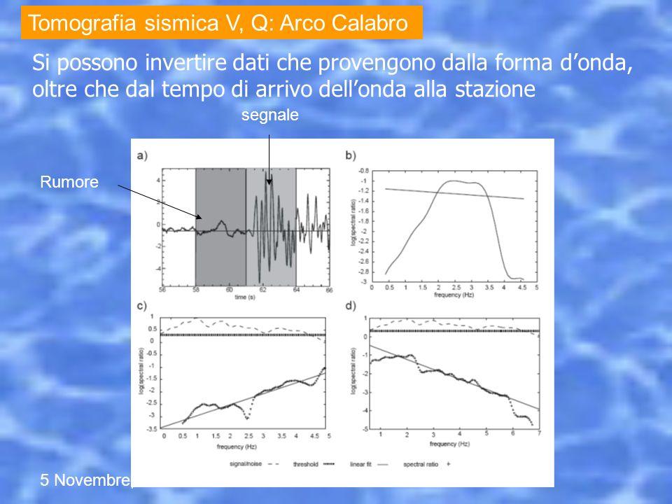 5 Novembre, 2012 Seminario Università di Chieti Si possono invertire dati che provengono dalla forma donda, oltre che dal tempo di arrivo dellonda all