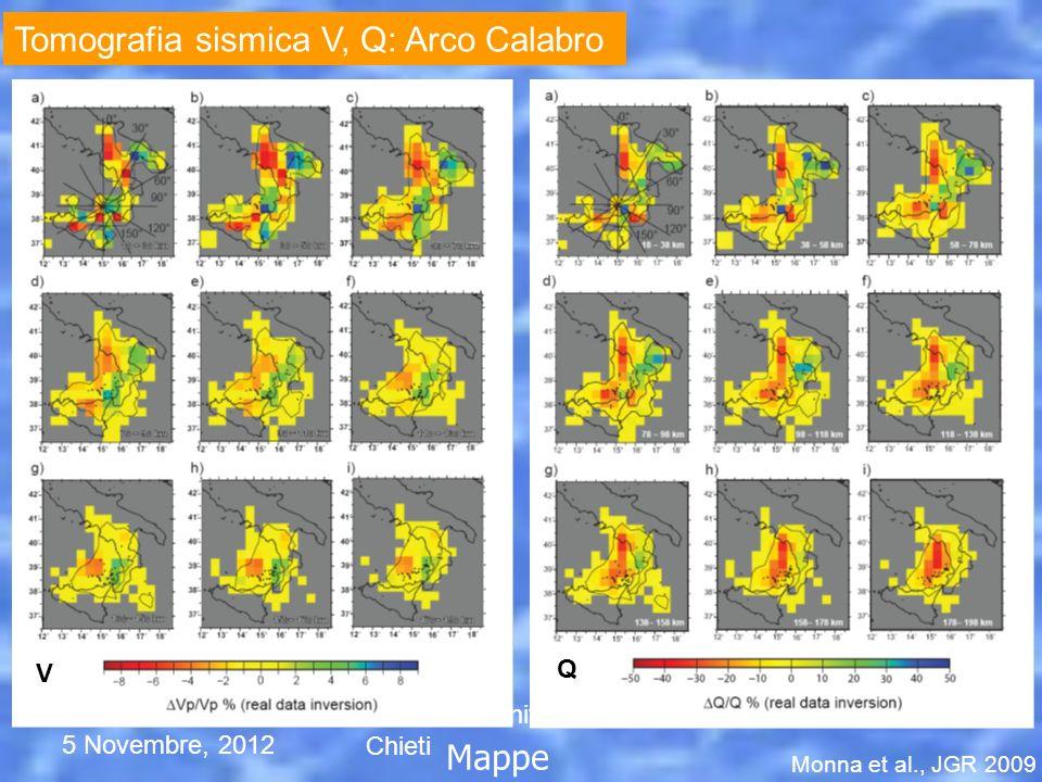 5 Novembre, 2012 Seminario Università di Chieti Mappe Monna et al., JGR 2009 V Q Tomografia sismica V, Q: Arco Calabro