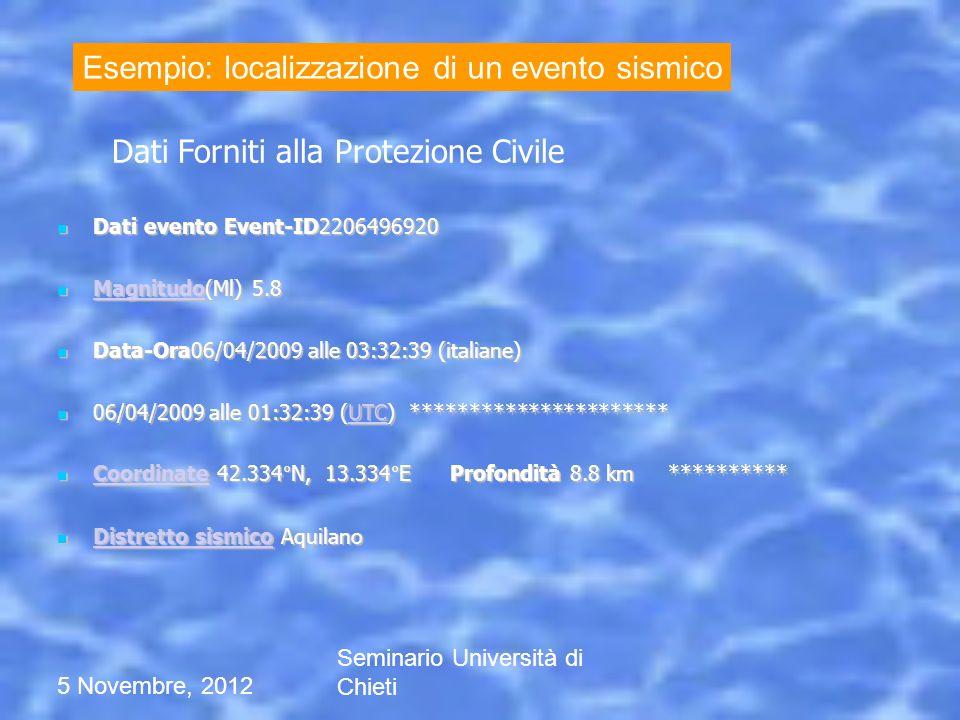 5 Novembre, 2012 Seminario Università di Chieti v1 v2 v3 v4 5.1 km/s 4.7 km/s 4.5 km/s 3.1 km/s Nota 5.1 km/s = 18360 km/h 1) Si parte da un modello di velocità noto -- tempo di arrivo alla stazione 2) Con una procedura iterativa si calcola posizione e tempo origine dellevento.
