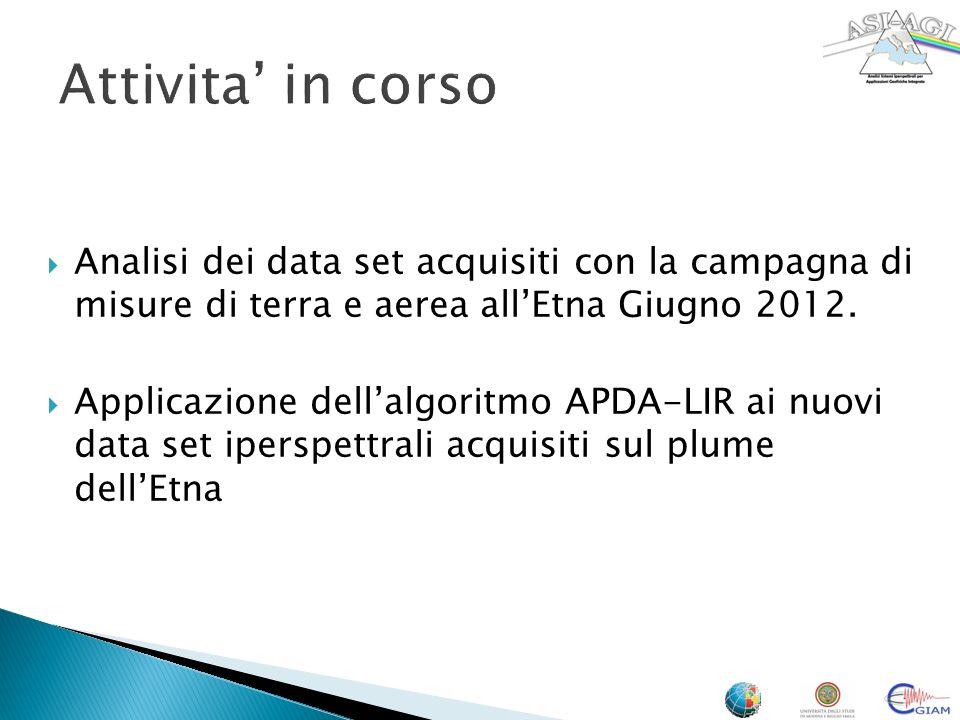 Attivita in corso Analisi dei data set acquisiti con la campagna di misure di terra e aerea allEtna Giugno 2012.