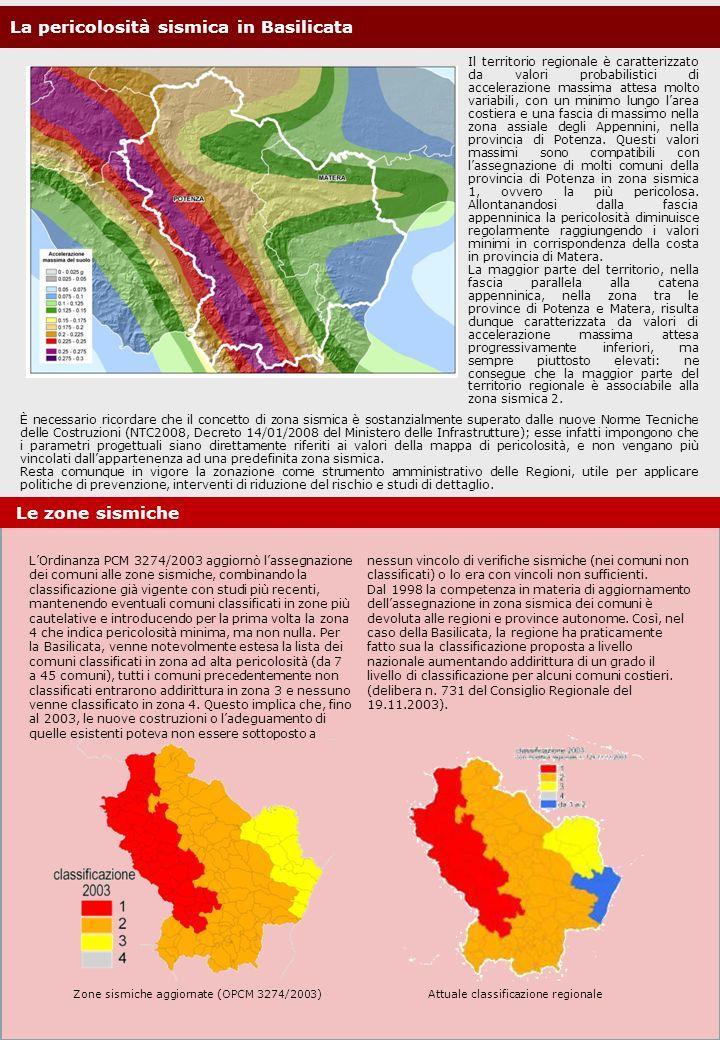 La pericolosità sismica in Basilicata Il territorio regionale è caratterizzato da valori probabilistici di accelerazione massima attesa molto variabil