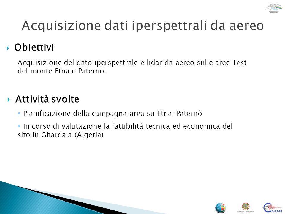 Obiettivi Acquisizione del dato iperspettrale e lidar da aereo sulle aree Test del monte Etna e Paternò. Pianificazione della campagna area su Etna-Pa