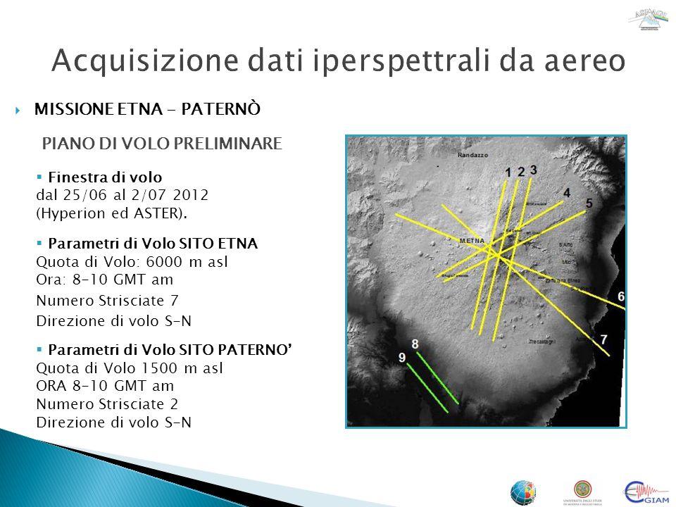 MISSIONE ETNA - PATERNÒ PIANO DI VOLO 1 Linee di volo e copertura nello SWIR (Google Earth) Finestra di volo dal 25/06 al 26/06 2012 (Hyperion ed ASTER).