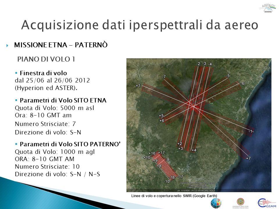 MISSIONE ETNA - PATERNÒ PIANO DI VOLO 2 Linee di volo e copertura nello SWIR (Google Earth) Finestra di volo dal 25/06 al 26/06 2012 (Hyperion ed ASTER).