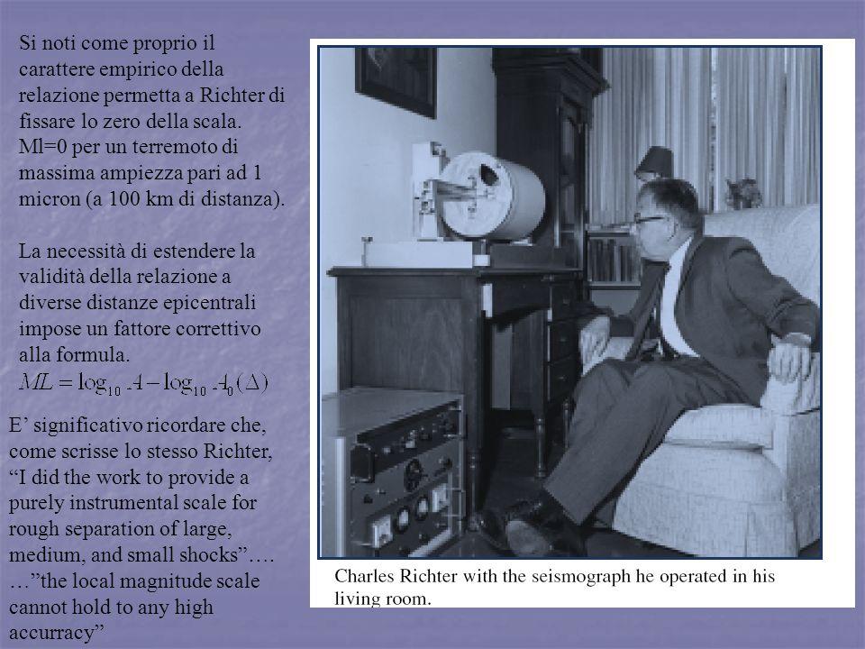 Si noti come proprio il carattere empirico della relazione permetta a Richter di fissare lo zero della scala. Ml=0 per un terremoto di massima ampiezz