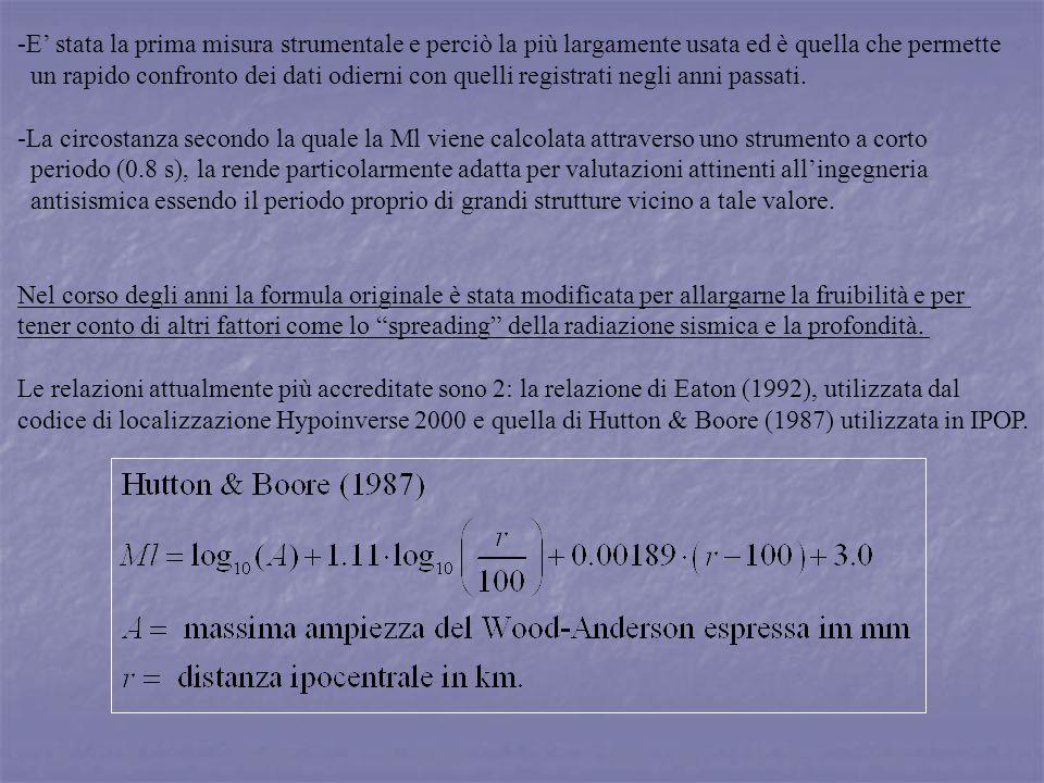 In entrambe le formulazioni si fa riferimento allampiezza massima della registrazione misurata su un sismografo a spostamento Wood-Anderson.