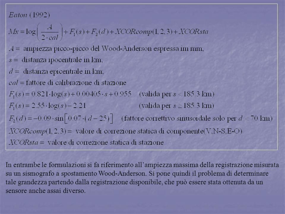 In entrambe le formulazioni si fa riferimento allampiezza massima della registrazione misurata su un sismografo a spostamento Wood-Anderson. Si pone q