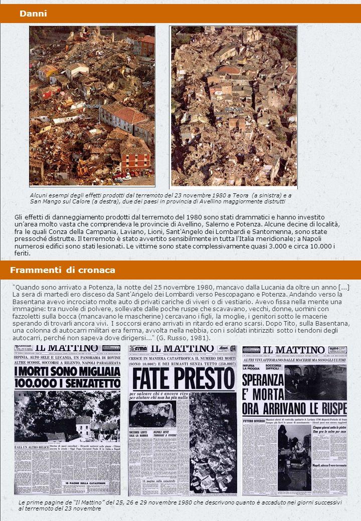 Distribuzione della sismicità storica in Campania negli ultimi mille anni (fonte: Catalogo CPTI) Dal 1981 al 2009 la sismicità è stata decisamente meno significativa e si è concentrata principalmente in Irpinia, nellalto-Sannio, sul Matese e in Valle Caudina.