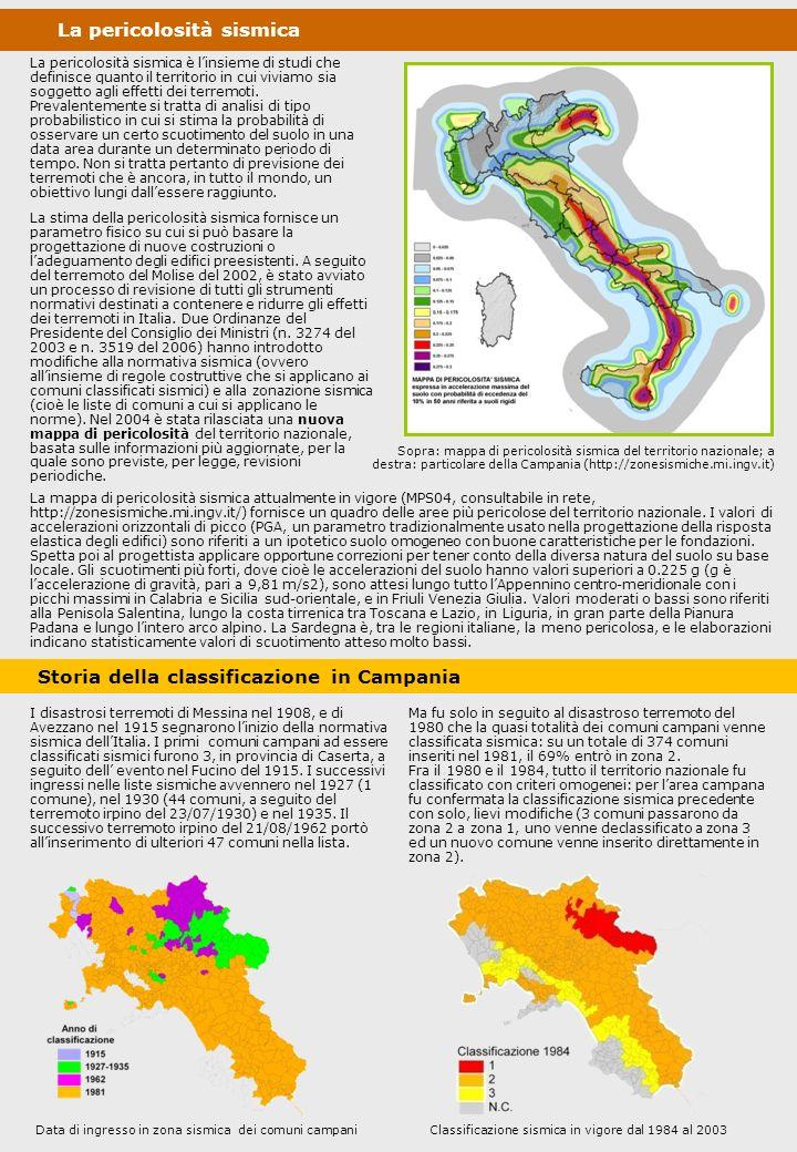 La pericolosità sismica in Campania Il territorio regionale è caratterizzato da valori probabilistici di accelerazione massima attesa molto variabili, con un minimo lungo larea costiera e una fascia di massimo nella zona assiale degli Appennini, nelle provincie di Benevento ed Avellino.