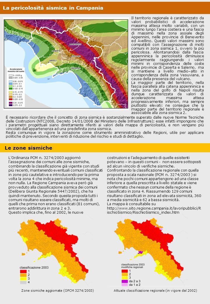 La pericolosità sismica in Campania Il territorio regionale è caratterizzato da valori probabilistici di accelerazione massima attesa molto variabili,