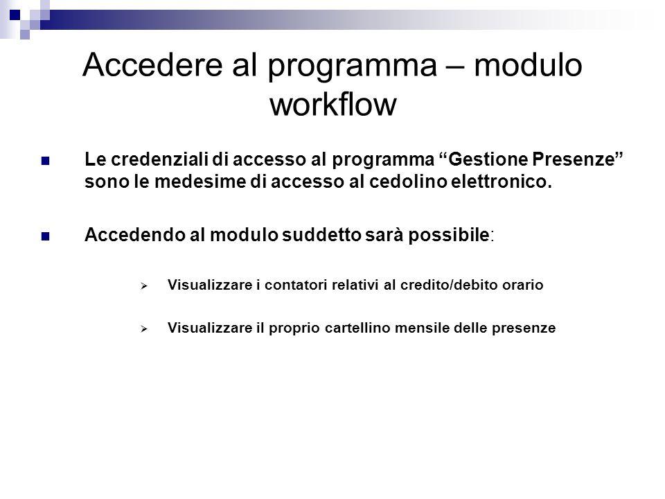 Accedere al programma – modulo workflow Le credenziali di accesso al programma Gestione Presenze sono le medesime di accesso al cedolino elettronico.