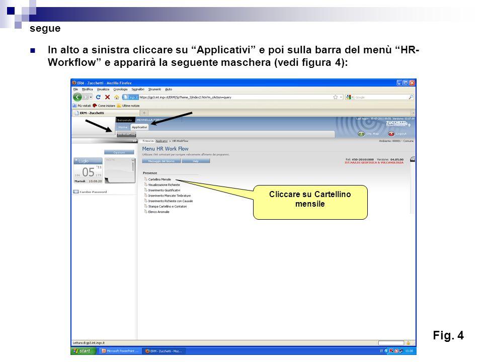 segue In alto a sinistra cliccare su Applicativi e poi sulla barra del menù HR- Workflow e apparirà la seguente maschera (vedi figura 4): Cliccare su