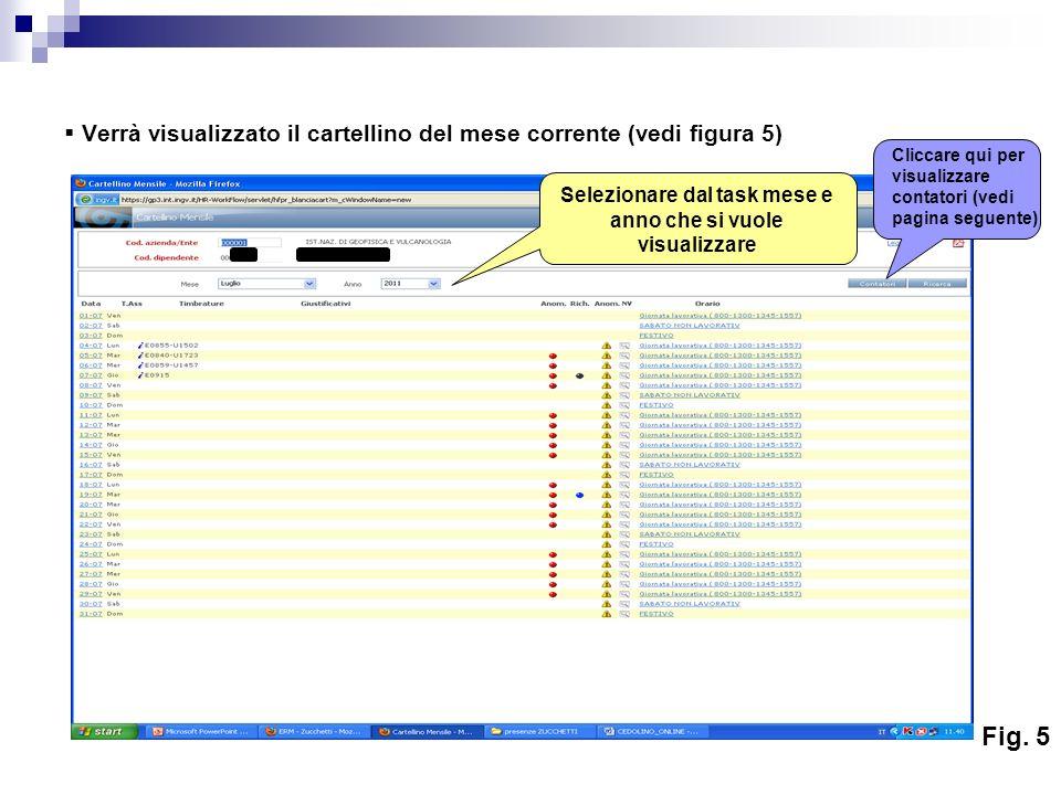 Verrà visualizzato il cartellino del mese corrente (vedi figura 5) xxxxxxx Selezionare dal task mese e anno che si vuole visualizzare Fig. 5 Cliccare