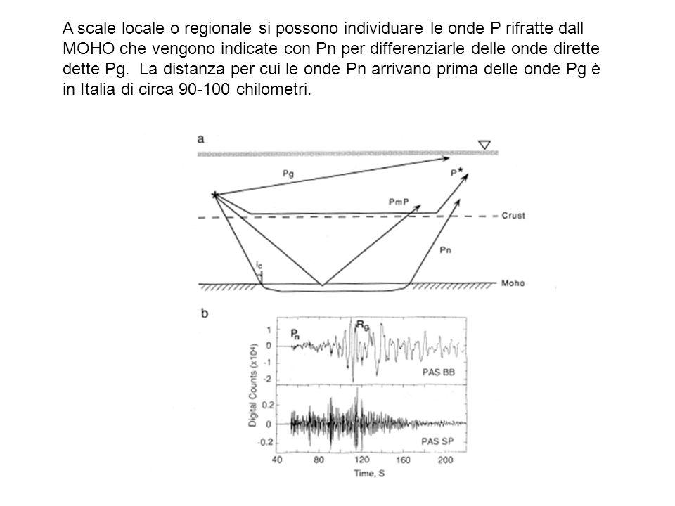 A scale locale o regionale si possono individuare le onde P rifratte dall MOHO che vengono indicate con Pn per differenziarle delle onde dirette dette