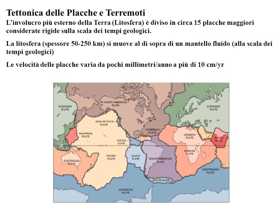 Tettonica delle Placche e Terremoti Linvolucro più esterno della Terra (Litosfera) è diviso in circa 15 placche maggiori considerate rigide sulla scal