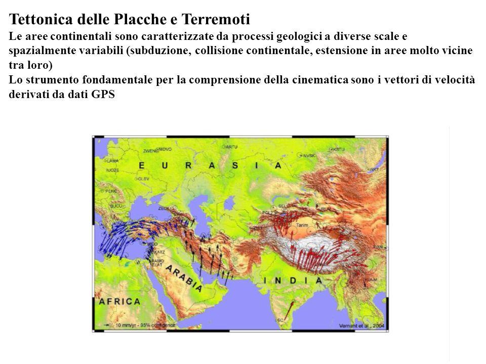 Tettonica delle Placche e Terremoti Le aree continentali sono caratterizzate da processi geologici a diverse scale e spazialmente variabili (subduzion