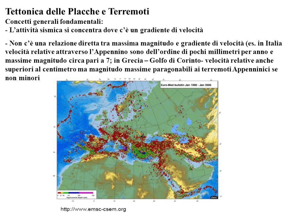 Tettonica delle Placche e Terremoti Concetti generali fondamentali: - Lattività sismica si concentra dove cè un gradiente di velocità - Non cè una rel