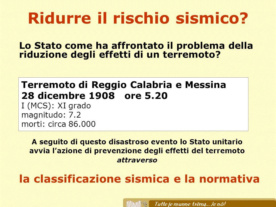 Ridurre il rischio sismico? Lo Stato come ha affrontato il problema della riduzione degli effetti di un terremoto? Terremoto di Reggio Calabria e Mess