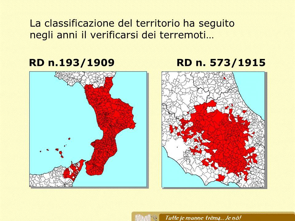 RD n.193/1909RD n. 573/1915 La classificazione del territorio ha seguito negli anni il verificarsi dei terremoti…