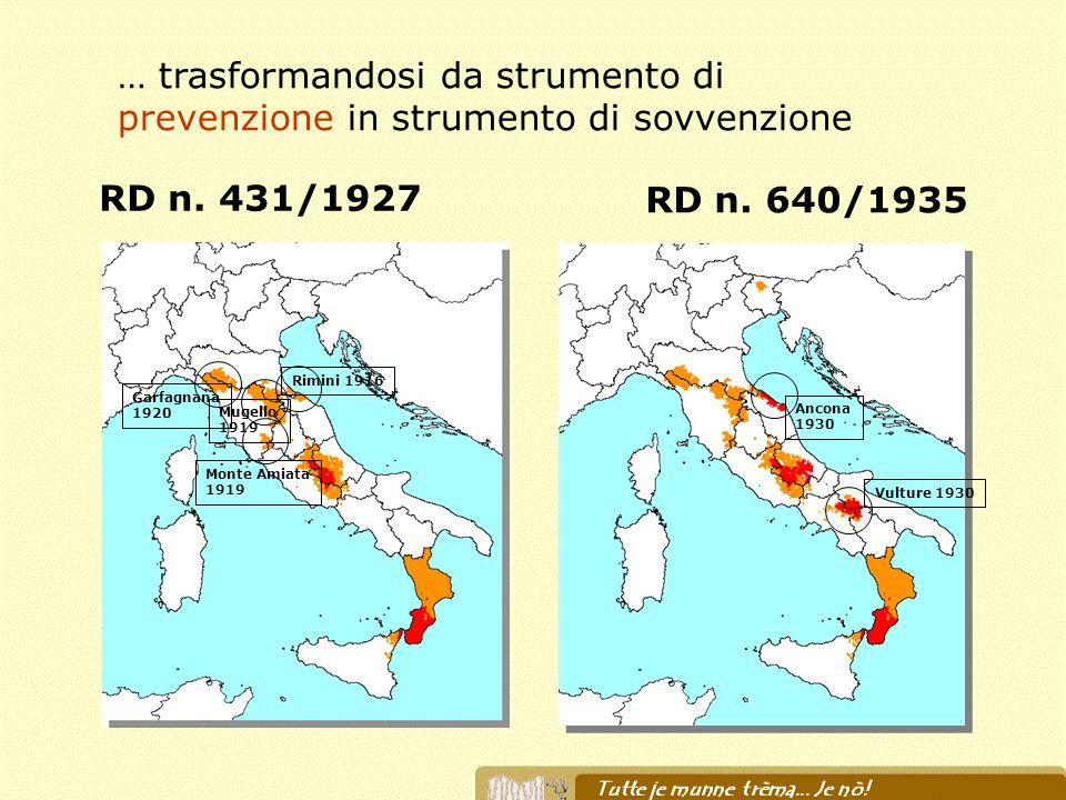 RD n. 431/1927 RD n. 640/1935 Garfagnana 1920 Mugello 1919 Rimini 1916 Monte Amiata 1919 Ancona 1930 Vulture 1930 … trasformandosi da strumento di pre