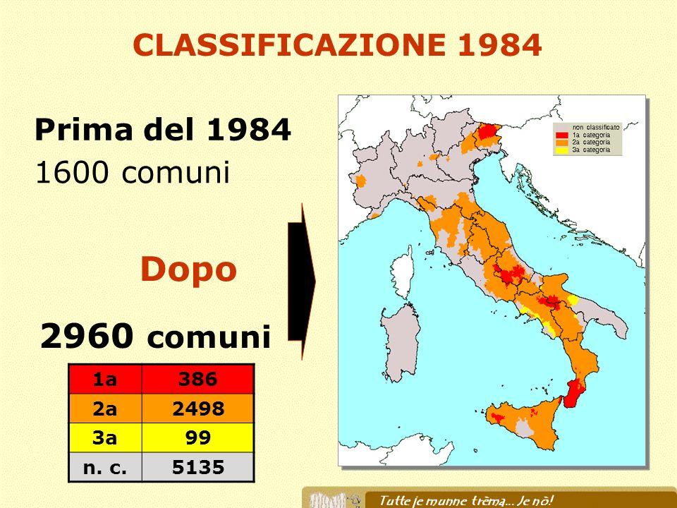 Prima del 1984 1600 comuni 2960 comuni Dopo CLASSIFICAZIONE 1984 1a386 2a2498 3a99 n. c.5135