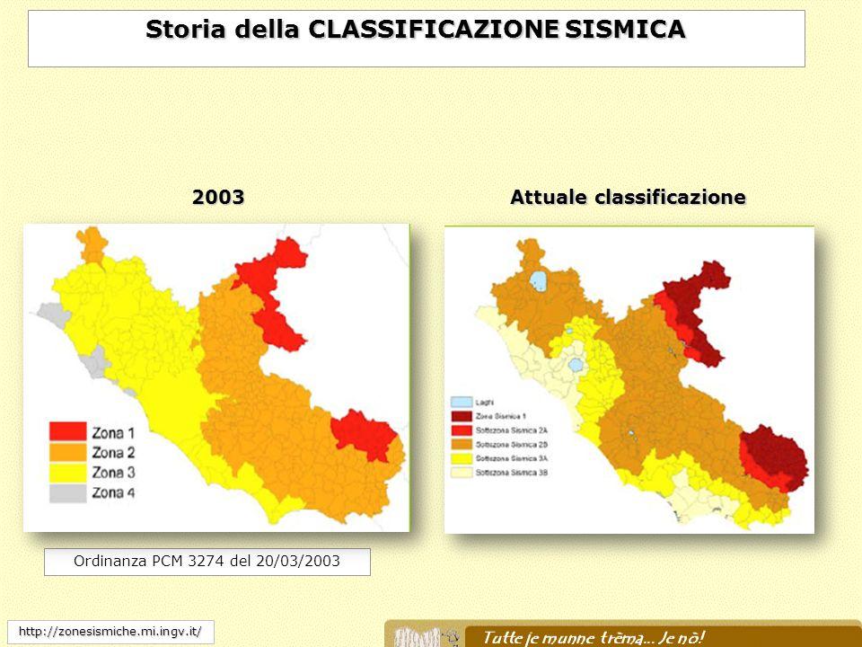 Ordinanza PCM 3274 del 20/03/2003 http://zonesismiche.mi.ingv.it/ Storia della CLASSIFICAZIONE SISMICA Attuale classificazione 2003