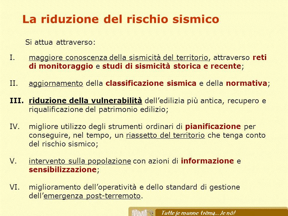 La riduzione del rischio sismico I.maggiore conoscenza della sismicità del territorio, attraverso reti di monitoraggio e studi di sismicità storica e