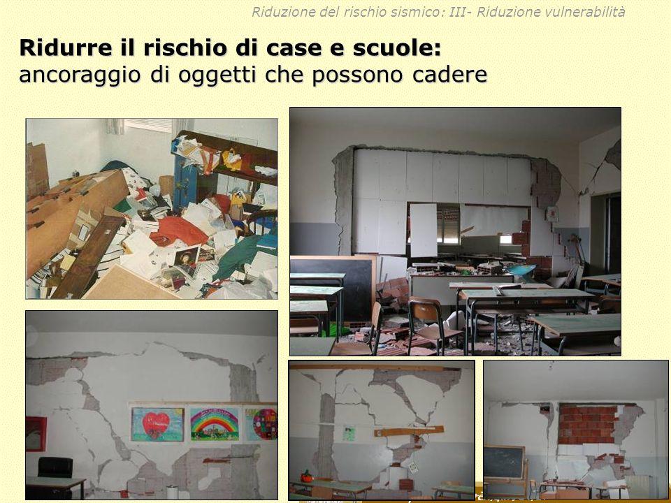 Ridurre il rischio di case e scuole: ancoraggio di oggetti che possono cadere Riduzione del rischio sismico: III- Riduzione vulnerabilità