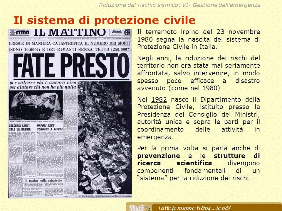 Il sistema di protezione civile Il terremoto irpino del 23 novembre 1980 segna la nascita del sistema di Protezione Civile in Italia. Negli anni, la r