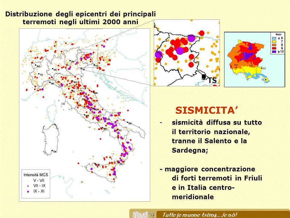 -sismicità diffusa su tutto il territorio nazionale, tranne il Salento e la Sardegna; - maggiore concentrazione di forti terremoti in Friuli e in Ital
